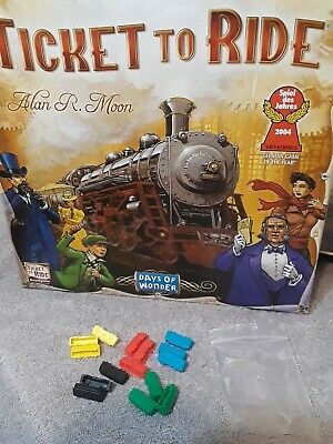 Train Cars yellow red blue black green packet  Ticket to Ride Board Game parts
