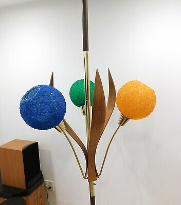 Mid-Century Tension Pole Lamp with Spun Fiberglass or Lucite Globes Brass Wood