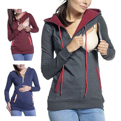 Pregnant Womens Maternity Hoodie Jacket Sweater Nursing Casual Mom Outerwear HOT