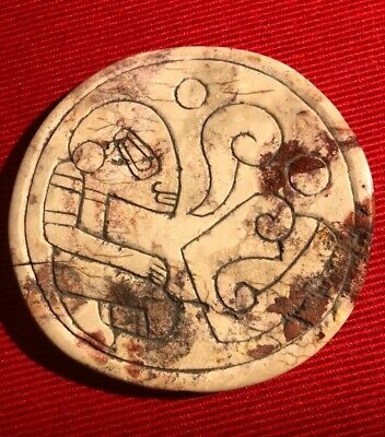 Ojuelos Jalisco Neolithic Stone Disk  with  Ancestral precolumbian alien figure