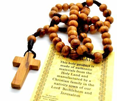 Holy Land hand carved olive wood rosary beads from Jerusalem wooden cross