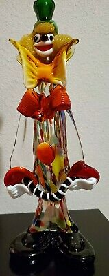 """MURANO GLASS CLOWN FIGURINE ORNAMENT 12 1/4"""" TALL VINTAGE Made in Italy"""