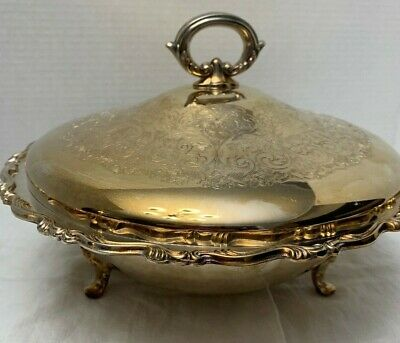 Vintage Wm. A. Rogers Silverplated Footed Bowl With Pyrex Bowl