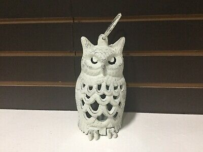 Cast Iron Antiqued White Owl Lantern (1184-0119)with FREE Shipping
