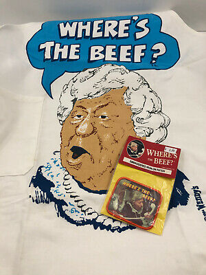 Vintage 1984 Wendy's WHERE'S THE BEEF Embroidered Iron On Patch & Apron NOS