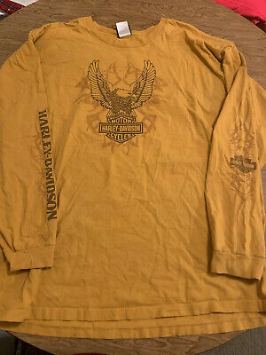 Harley Davidson Mens 3X L/S Motorcycle  Shirt Indywest Plainfield In. Big Logos