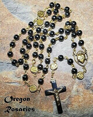 Black Hematite Rosary, Rose Paters, Gold  #OR1847