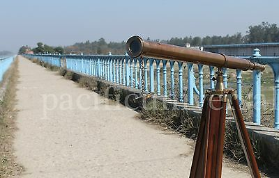 Nautical Antique Beautiful Working Scope Telescope With Brown Wooden Tripod .