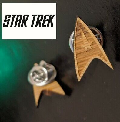 "Star Trek Logo mini Wood Pin brooch .75"" tall Collectible gift decor cosplay"