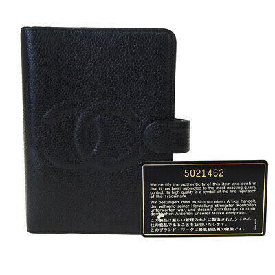 Auth CHANEL CC Agenda Day Planner Notebook Cover Caviar Leather Black 04SA558