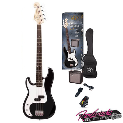 SX SB2SKLHB 4 String Left Handed P Bass Guitar w/ Amp and Accessories in Black