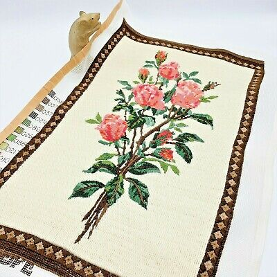 Completed Vintage Penelope Wool Tapestry Panel, 35 x 56cm Pink Roses, England
