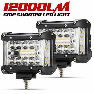 """2Pcs 4"""" Side Shooter LED Work Light Triple Row Auxiliary Offroad Driving Light"""
