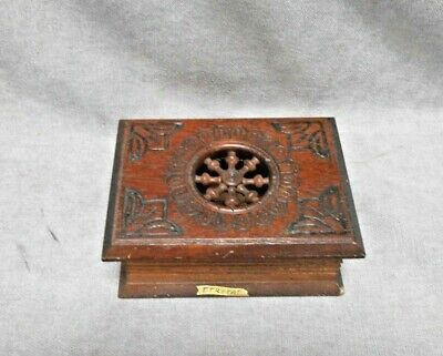 1970s Vintage French CARVED wood  BRITTANY Trinket BOX