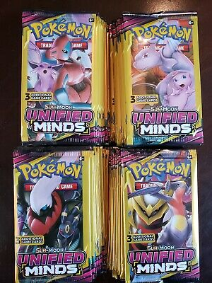 LOT OF (100)PACKS!! ☆ POKEMON SUN&MOON》UNIFIED MINDS☆3 Card  Booster Packs