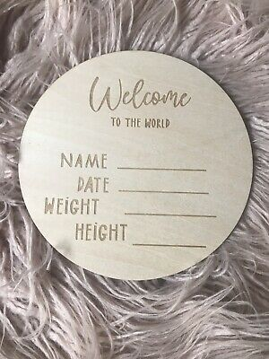 Birth Announcement Plaque Name Card Disc Wooden Baby Shower Gift Milestone