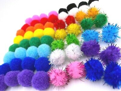 2cm Pom Pom Felt Balls Multi Colour Value Pack School Craft Project Easter Bunny