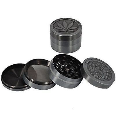 Metal Amsterdam Leaf 4-Parts Grey Magnetic Herb Crusher Grinder CNC Spice