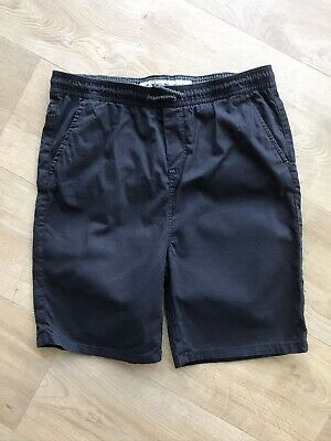 Boys Black Elasticated Waist Chino Shorts From Primark Age 14-15 Years VGC