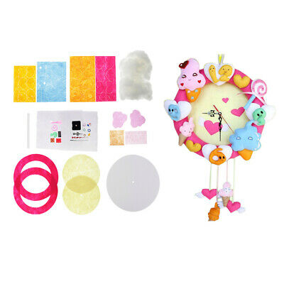 Ice Cream Clock Felt Applique Kit Handmade Felt Materials Package Home Decor