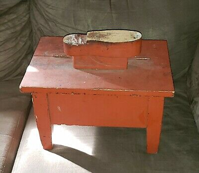old vintage WOODEN RED PAINTED SHOE SHINE BOX, PRIMITIVE