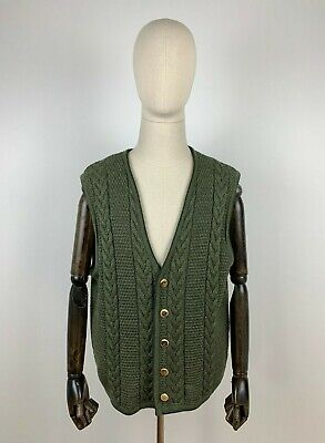 Schuy Made in Germany Traditional Costume Waistcoat Knit Cardigan Vest Green 52