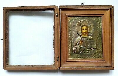 Antique Orthodox Icon Jesus Christ Oklad Kiot Russian Empire Board 25x21x5.5cm