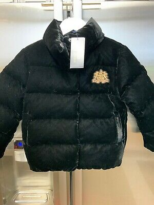 GIRLS POLO RALPH LAUREN DOWN FEATHER BLACK VELVET PUFFA JACKET  SIZE 5 Years New