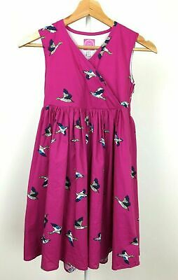 Girls aged 8 Joules Pink A line dress Duck print special occasion summer cotton