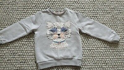 Girls M&S Sweatshirt Age 7-8 Grey Cat Sequins Marks And Spencer