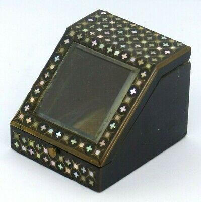 Antique French Napoleon III Ebonised / Mother of Pearl Pock Watch Box / Stand