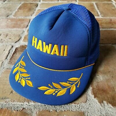 Hawaiian Trucker Hat Cotton Adjustable Cap Hawaii Tiki Brim Strip Buckle Back NB
