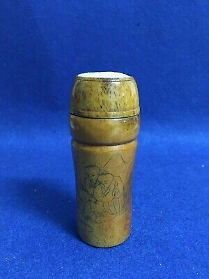 Rare Antique Chinese Carved Cricket Cage W/ Figures And Poem