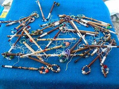 Quantity Of 40 Vintage Lacemaking Bobbins- Some Unusual - Excellent Condition