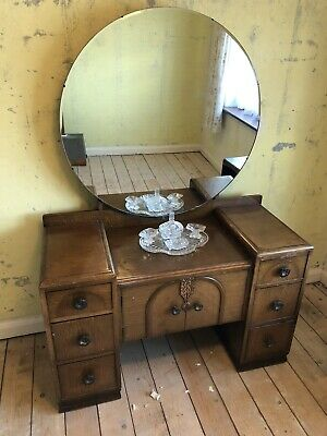 Antique 1950's Wooden Wardrobe x 2 Dressing Table with Mirror Bedroom Furniture