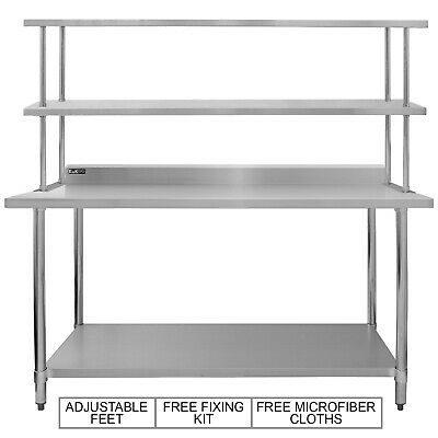 Catering Table Overshelf Stainless Steel Commercial Prep Bench Double Shelf