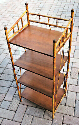 Antique Scorched Bamboo 4 Shelf Stand Excellent Condition