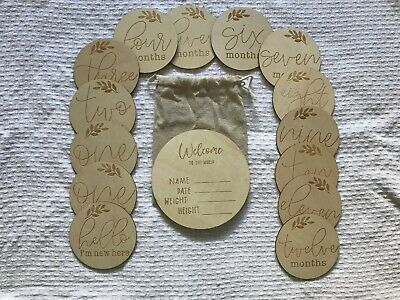Wooden Baby Milestones Cards and Birth Announcement Disc