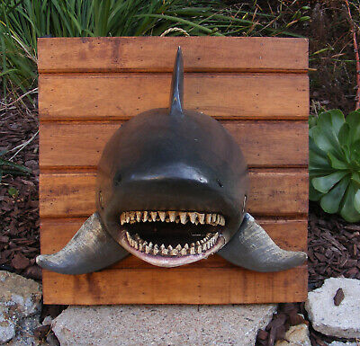 Shark Head Wooden Wall Plaque Carving Tropical Nautical Decor 39""
