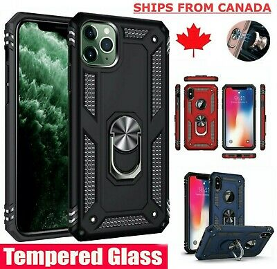 For iPhone XR 7 8 11 Pro Max Shockproof 360 Magnetic Ring Stand Armour Case