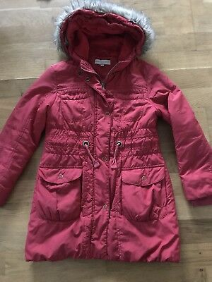 Marks&Spencer Girl Red Coat Jacket Hooded Size 7-8 years Old