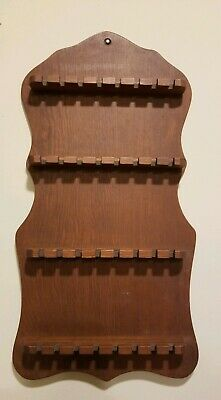 Vintage Wooden Wood Souvenir Spoon Collector Wall Rack Display Holds 32 Spoons