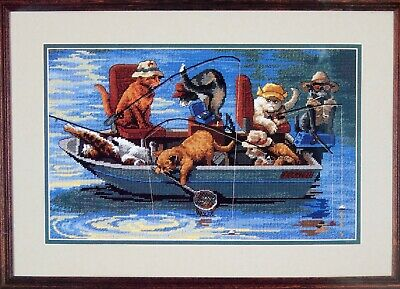 Dimensions GONE FISHIN' Needlepoint kit #2490 Cats Fishing in Boat
