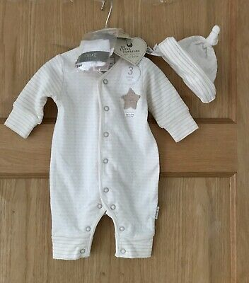 New Tags NEXT 3 Part* BABY BOYS ROMPER ALL-IN-ONE SLEEP SUIT HAT SOCKS 0-1 MONTH