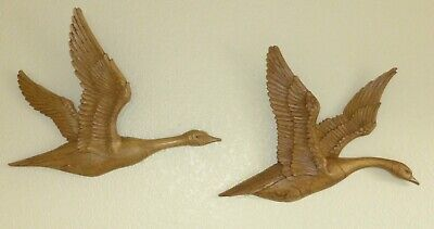 Vintage Mid Century Two SYROCO 1967 Large Plastic Flying Geese Wall Hangings