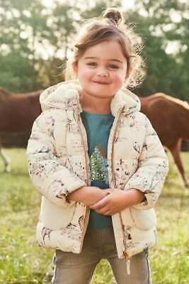 Girls NEXT Jacket Woodland Animal Print Padded Coat Fleece Pockets & Hood 2-3 Y