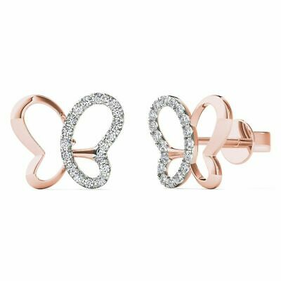 10Kt Rose Gold 0.11 Ct Genuine Natural Diamond Butterfly Stud Earrings
