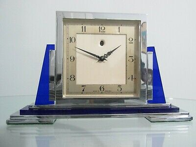 Rare Art Deco Modernist Chrome Smiths Electric Mantel Clock 1930s Working