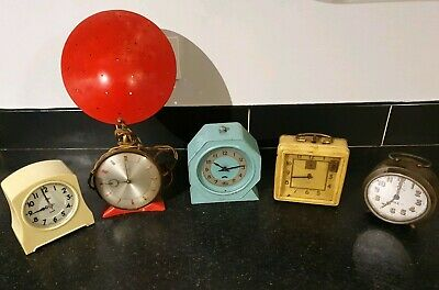5 Vintage Clocks Spares Repair