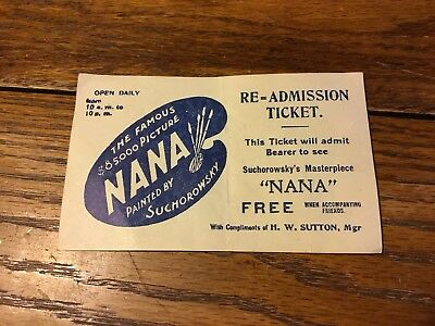 RARE Nana OIL PAINTING by Marcel Suchorowsky EXHIBIT ADVERTISING TICKET Original